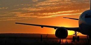 Find Budget Flights online, airplane, sunset, flight