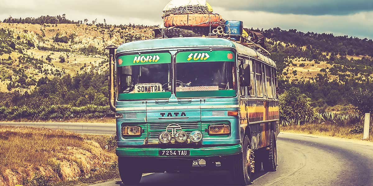 Tips for long bus trips and bus travel, green bus