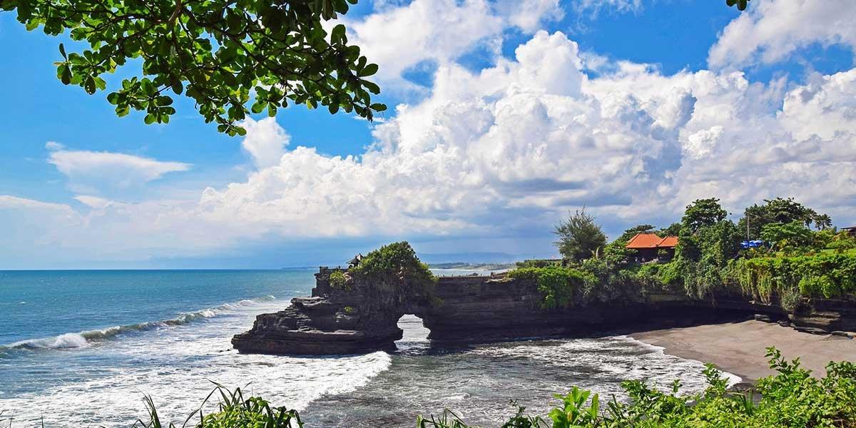 Bali on a budget, temple in Bali, rock, sea