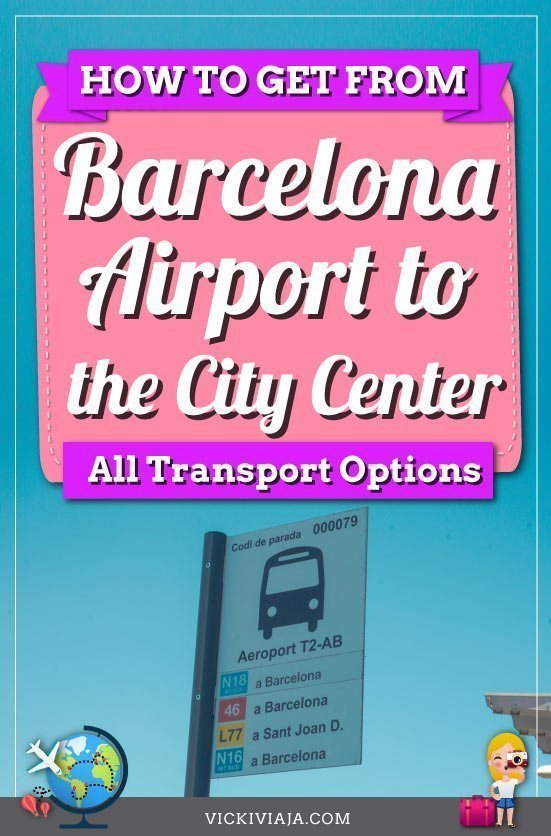 Barcelona airport to city center pin